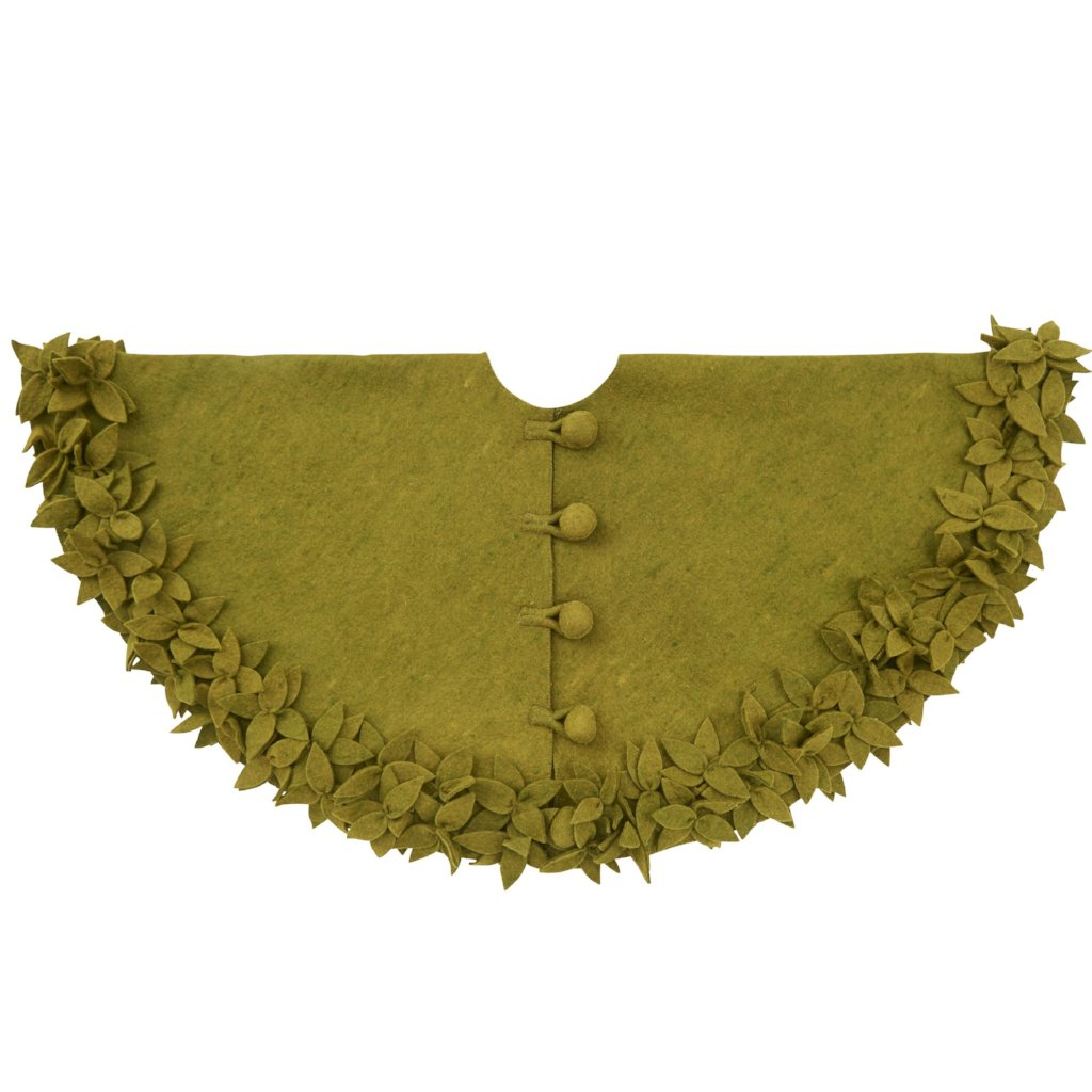 Hand Felted Wool Christmas Tree Skirt - Overlapping Flowers Border in Chartreuse Green - 60