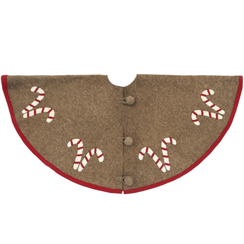 Handmade Christmas Tree Skirt in Felt - Candy Canes on Gray  - 60