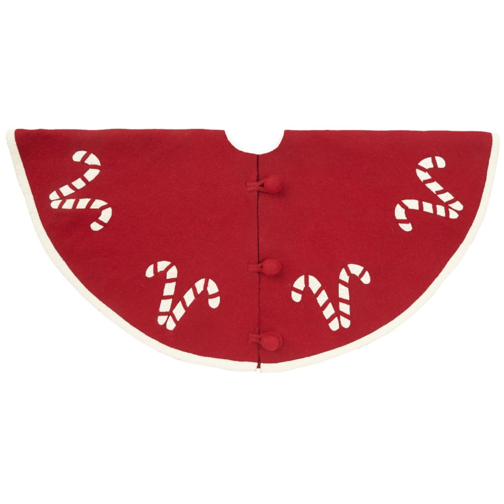 Handmade Christmas Tree Skirt in Felt - Candy Canes on Red - 60