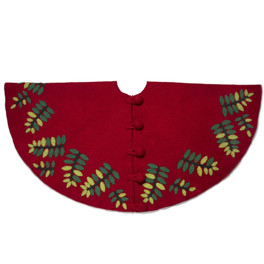 Handmade Christmas Tree Skirt in Felt - Green Leaves on Red - 60