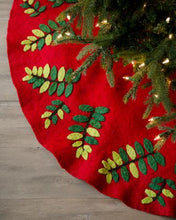 "Handmade Christmas Tree Skirt in Felt - Green Leaves on Red - 60"" - Arcadia Home"