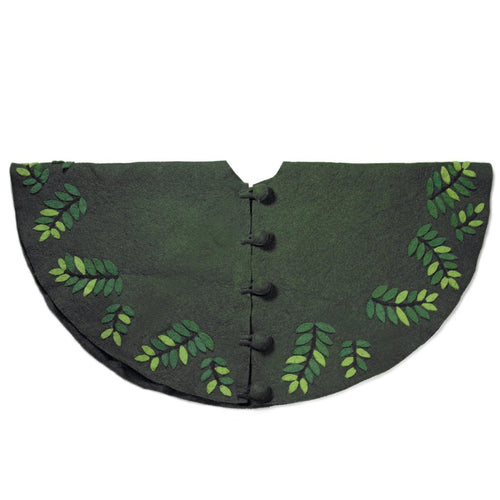 Handmade Christmas Tree Skirt in Felt - Leaves on Green - 60