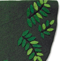 Handmade Christmas Tree Skirt in Felt - Leaves on Green - 60""