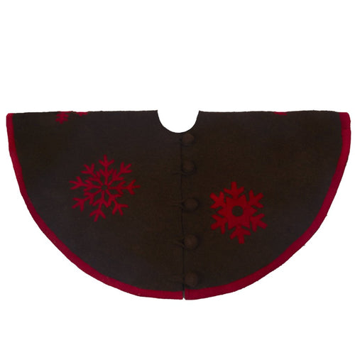 Handmade Christmas Tree Skirt in Felt - Red Snowflakes on Brown - 60