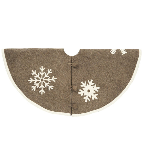 Handmade Christmas Tree Skirt in Felt - Snowflakes on Gray  - 60