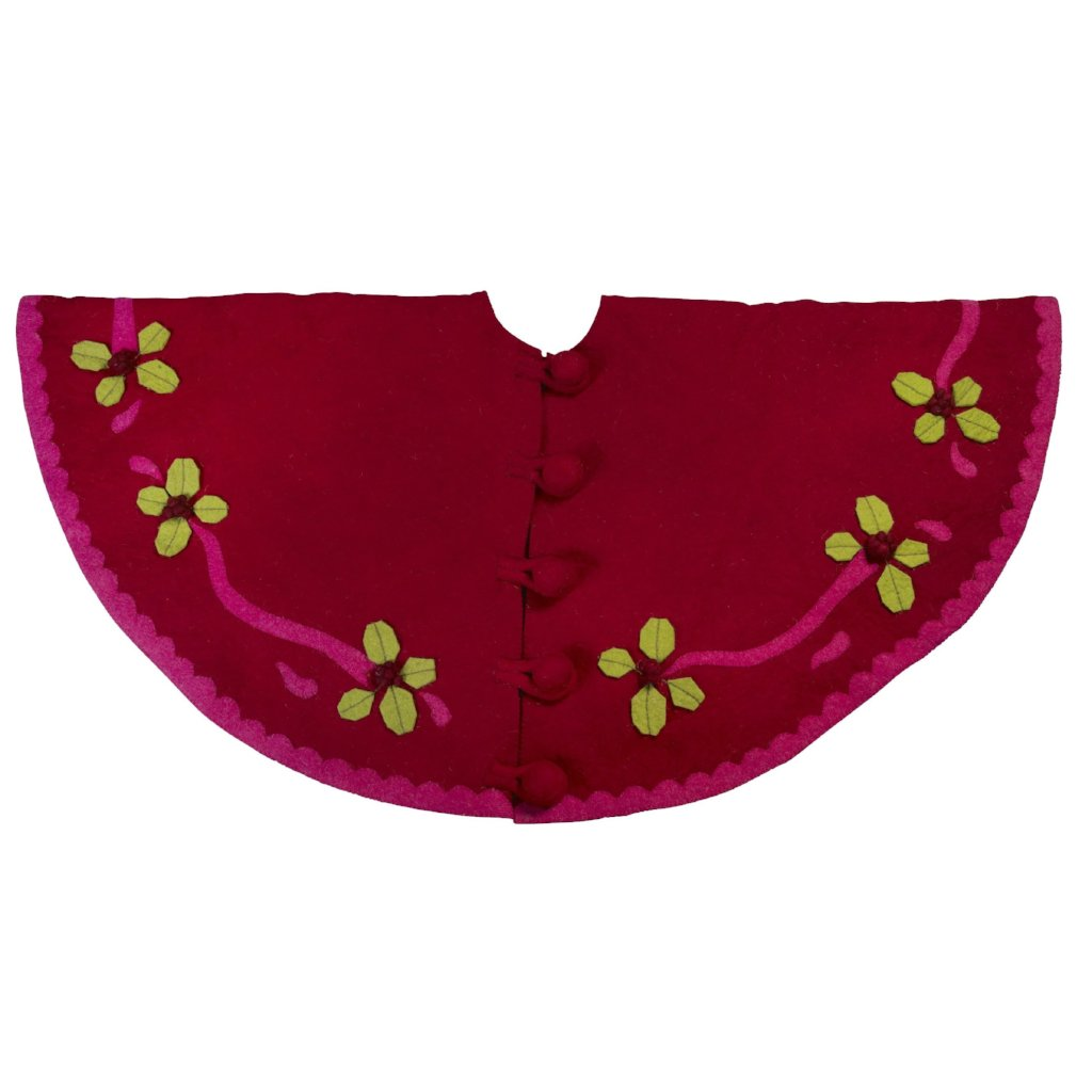 Handmade Christmas Tree Skirt in Felt - Berries on Red - 60