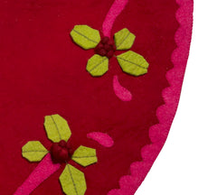 Handmade Christmas Tree Skirt in Felt - Berries on Red - 60""