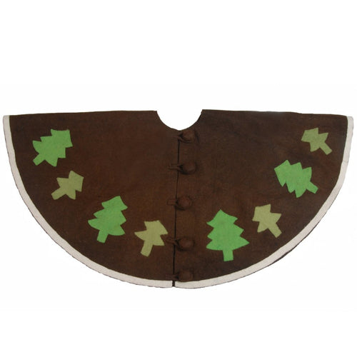 Handmade Christmas Tree Skirt in Felt - Rustic Trees on Brown - 60