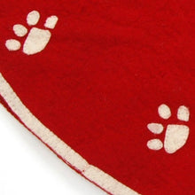Handmade Christmas Tree Skirt in Felt - Paw Prints on Red - 60""