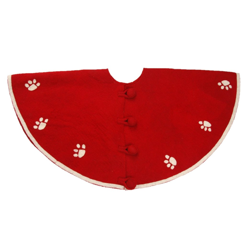 Handmade Christmas Tree Skirt in Felt - Paw Prints on Red - 60