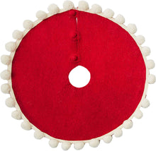 "Mini Christmas Tree Skirt - Pom Poms on Red - in Hand Felted Wool - 26"" - Arcadia Home"