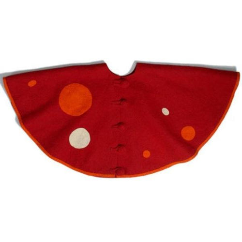 Handmade Christmas Tree Skirt in Felt - Polka Dots on Red - 60