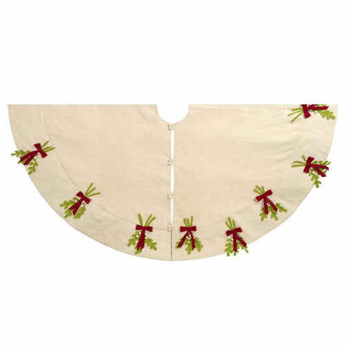 Mistletoe Tree Skirt in Linen - Arcadia Home
