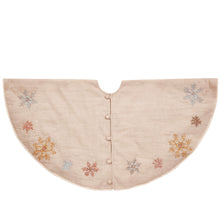 "Pastel Snowflakes Christmas Tree Skirt in Natural Linen - 60"" - Arcadia Home"