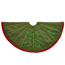 "Hand Beaded Starburst Christmas Tree Skirt in Green Silk - 60"" - Arcadia Home"