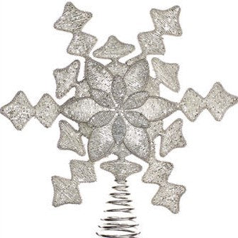 Hand Beaded Christmas Snowflake Tree Topper in Silver