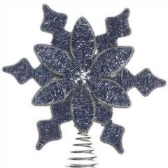 Beaded Christmas Tree Topper - Snowflake and Flower in Blue