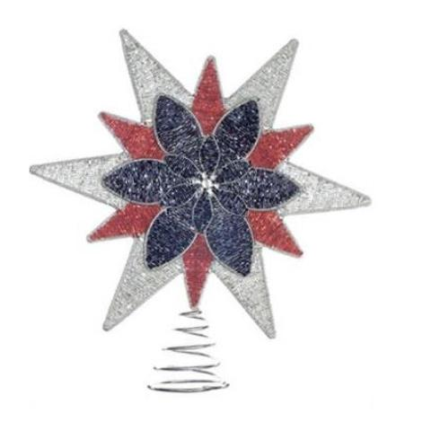 Hand Beaded Christmas Tree Topper - Red, Silver, and Blue Star - Arcadia Home