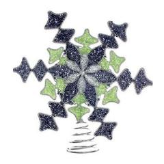 Handmade Blue and Green Beaded Snowflake Christmas Tree Topper