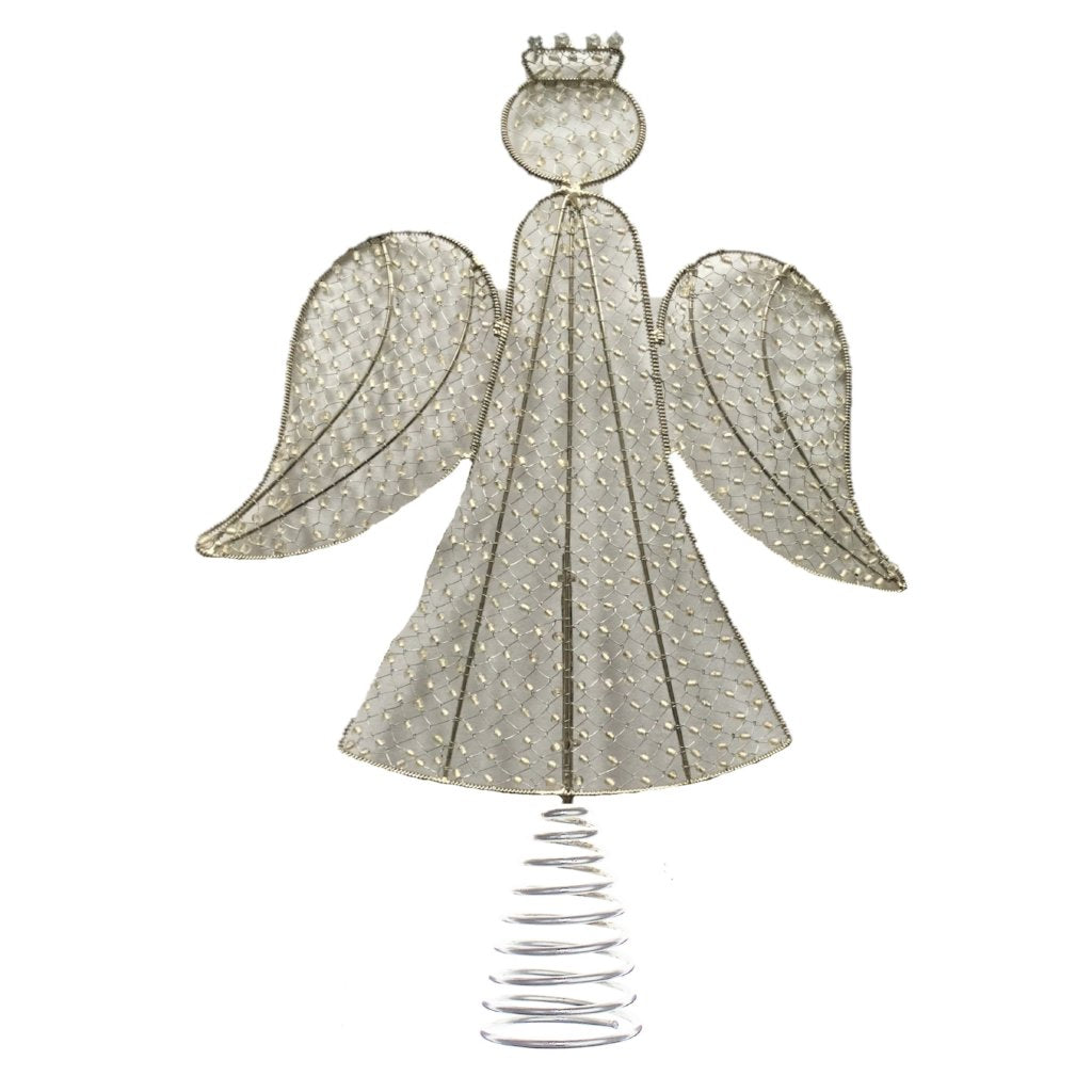 Hand Beaded Christmas Angel Tree Topper in Silver