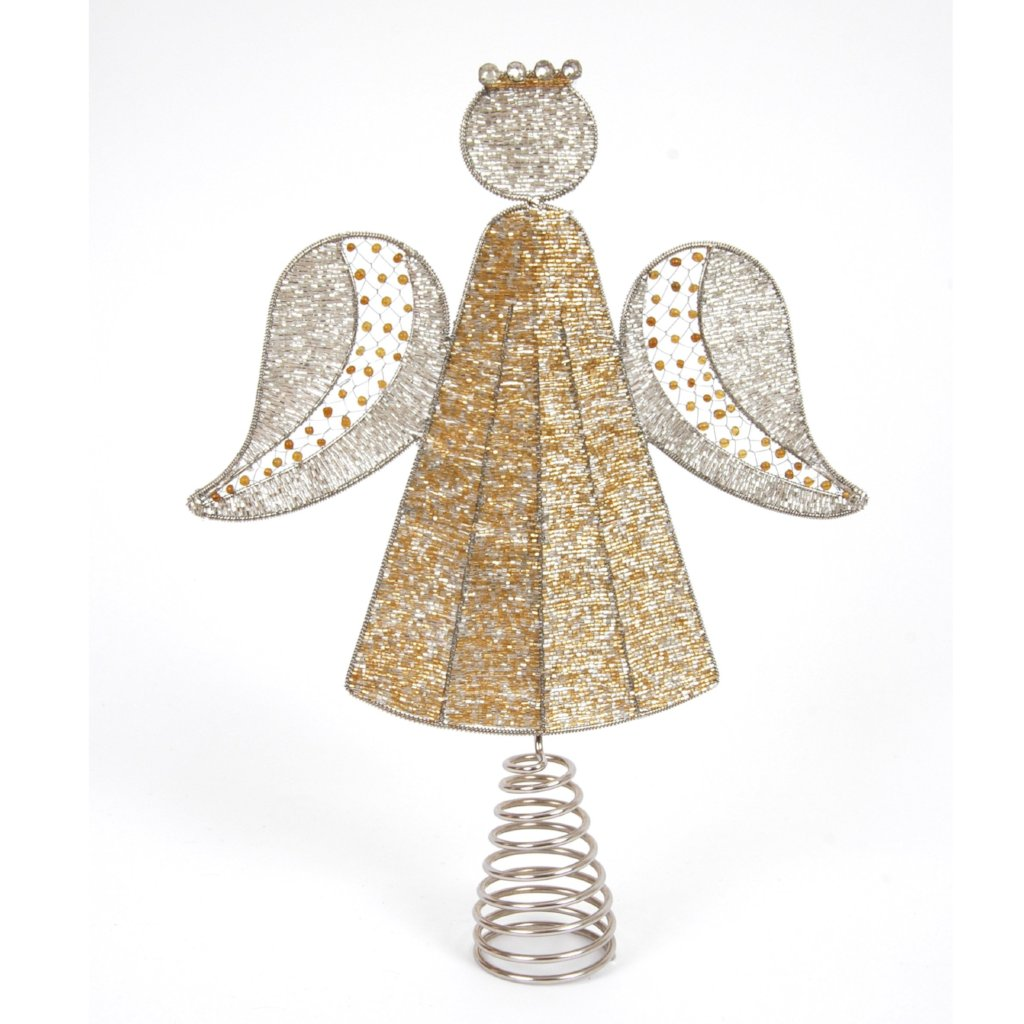 Hand Beaded Christmas Angel Tree Topper in Silver and Gold