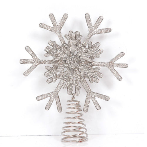 Handmade Silver Beaded Snowflake Christmas Tree Topper