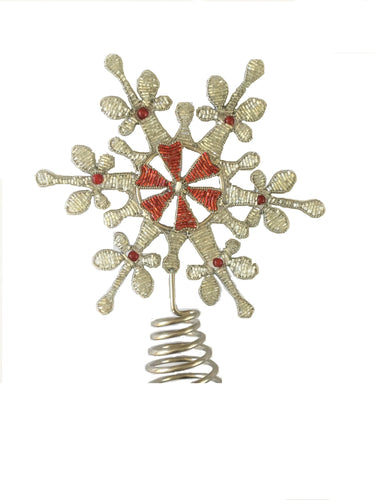 Hand Beaded Silver and Red Tree Topper