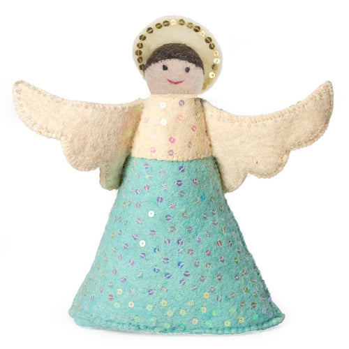 Handmade Hand Felted Wool Christmas Tree Topper - Brunette Angel in Blue Dress