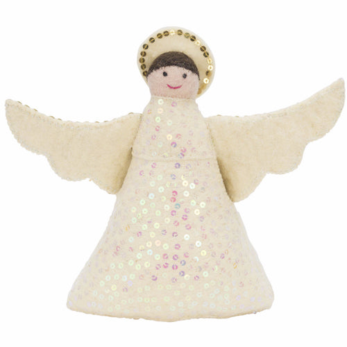 Brunette Angel Tree Topper in Hand Felted Wool - Arcadia Home
