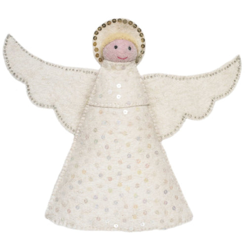Handmade Hand Felted Wool Christmas Tree Topper - Angel - Arcadia Home
