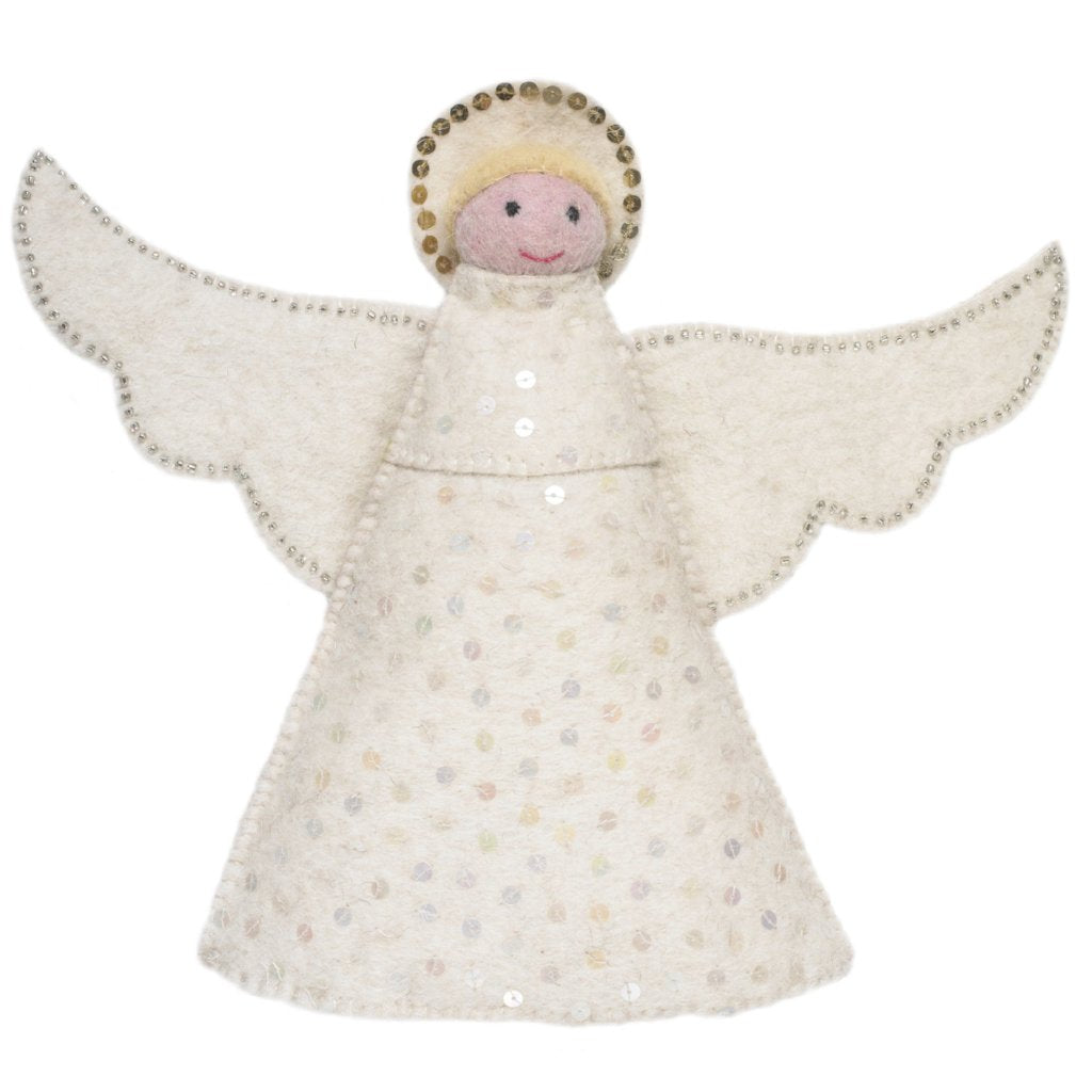 Handmade Hand Felted Wool Christmas Tree Topper - Angel