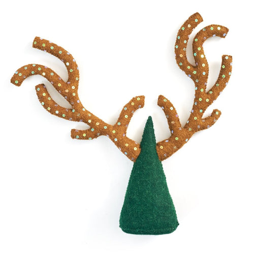 Handmade Hand Felted Wool Christmas Tree Topper - Sequined Antlers
