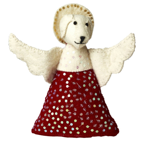 Handmade Felt Tree Topper - Dog Angel in Red