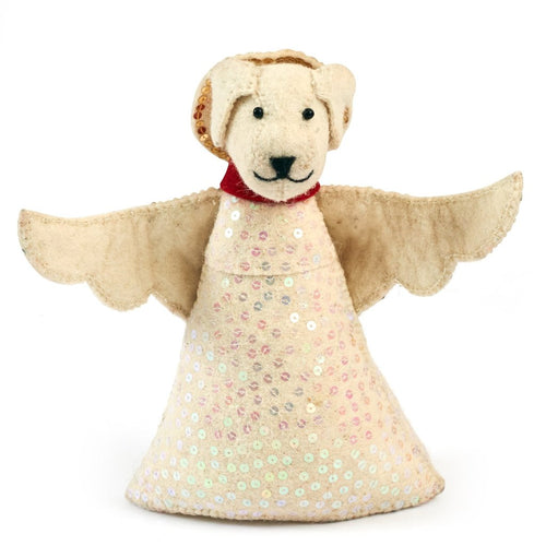 Handmade Felt Tree Topper - Dog Angel in White - Arcadia Home