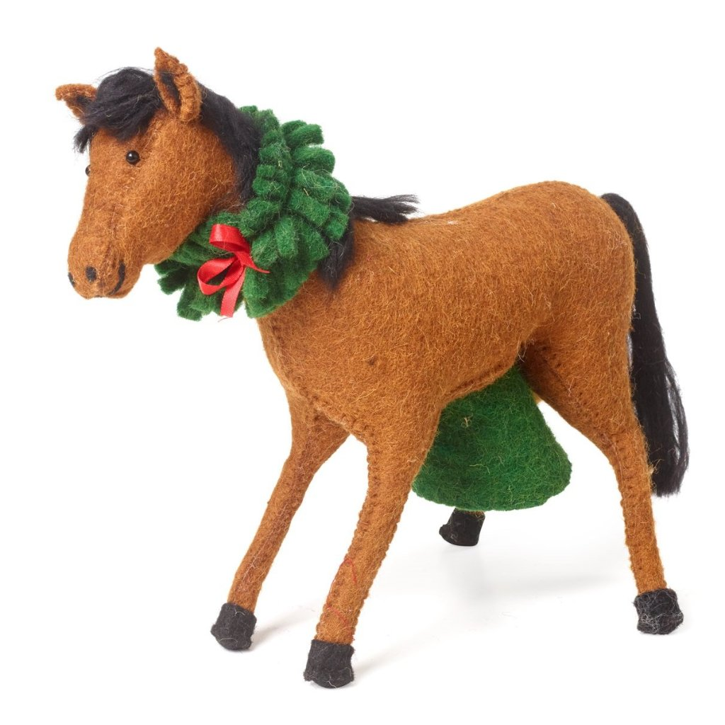 Handmade Hand Felted Wool Christmas Tree Topper - Horse with Wreath - Arcadia Home