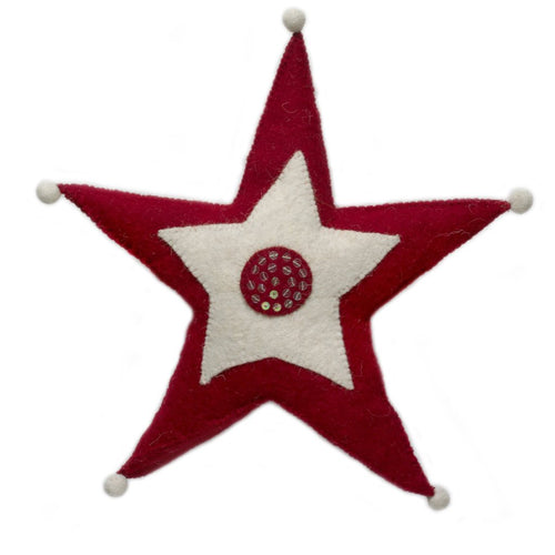 Handmade Hand Felted Wool Christmas Tree Topper - Red and White Jester Star - Arcadia Home