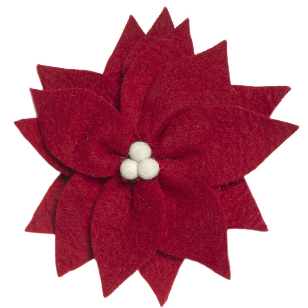 Handmade Hand Felted Wool Christmas Tree Topper - Red Poinsettia - Arcadia Home