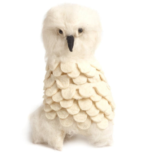 Handmade Hand Felted Wool Christmas Tree Topper - Snowy Owl