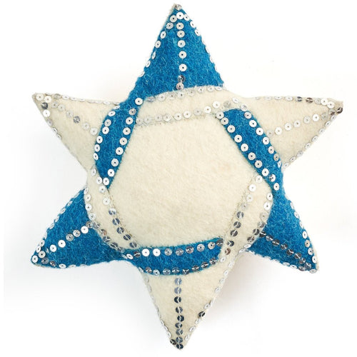 Handmade Hand Felted Wool Christmas Tree Topper - Star of David