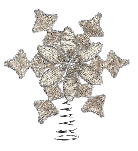 Hand Beaded Silver Snowflake Tree Topper