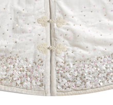 "Handmade Christmas Tree Skirt in Velvet-White with Sequins - 72"" - Arcadia Home"