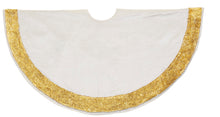 Ivory Velvet Christmas Tree Skirt with Hand Beaded Gold Border - 60""
