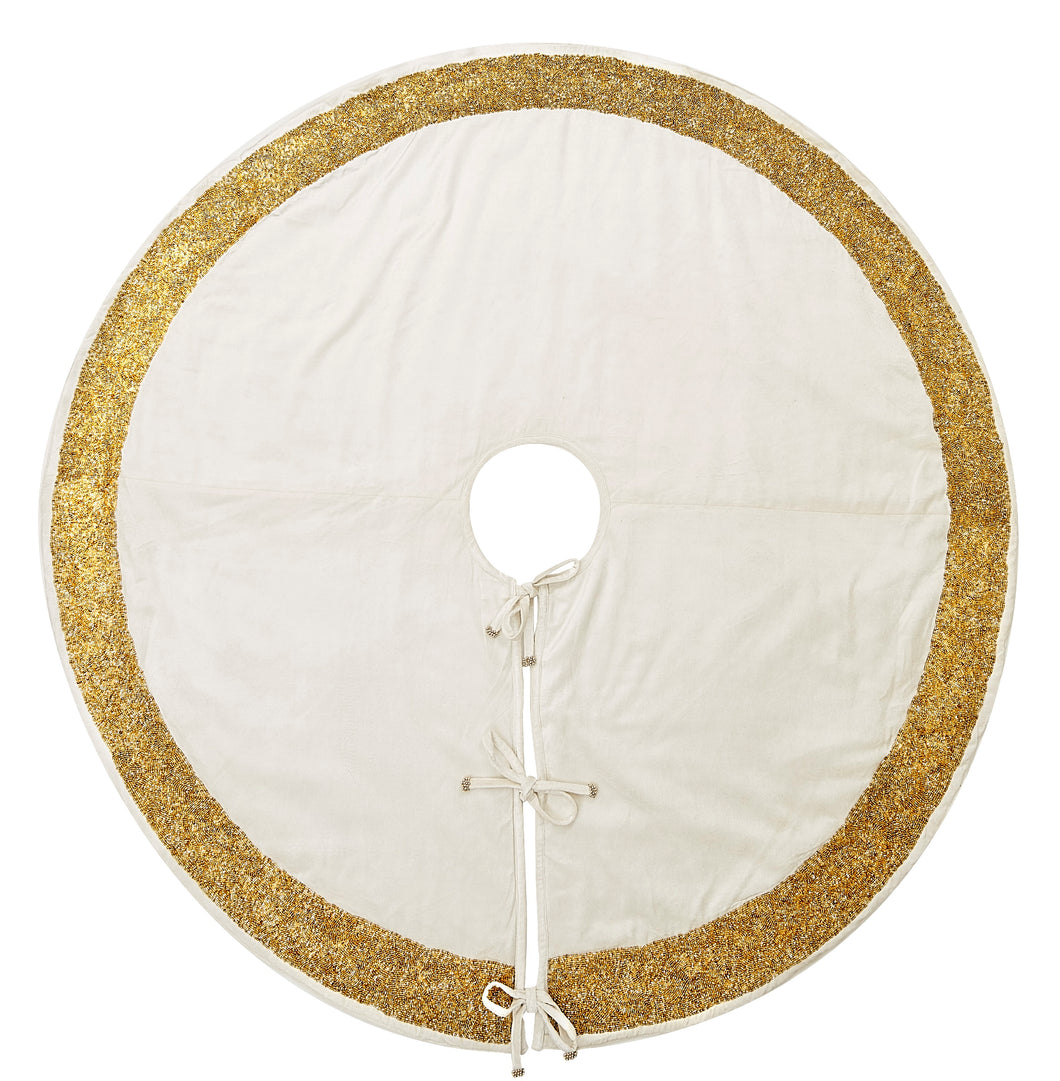 Ivory Velvet Christmas Tree Skirt with Hand Beaded Gold Border - 60