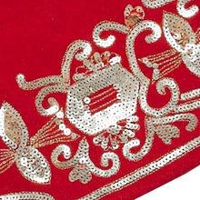 "Hand Beaded Red Empress Christmas Tree Skirt in Recycled Wool - 60"" - Arcadia Home"