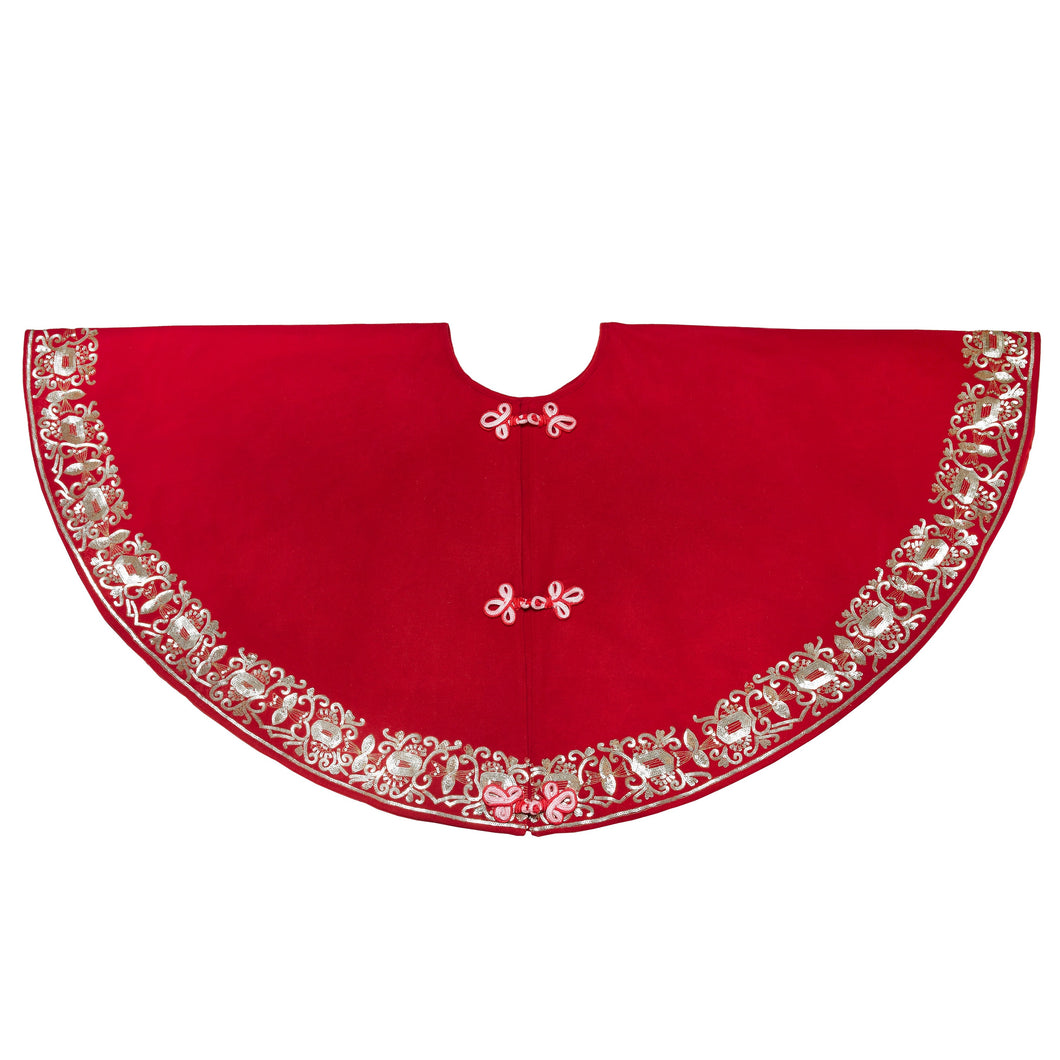 Hand Beaded Red Empress Christmas Tree Skirt in Recycled Wool - 60
