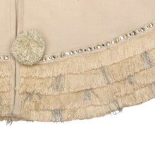 "Handmade Christmas Tree Skirt in Recycled Wool - Cream with Fringe Border - 60"" - Arcadia Home"