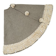 "Handmade Christmas Tree Skirt in Recycled Wool - Gray with Fringe Border - 60"" - Arcadia Home"