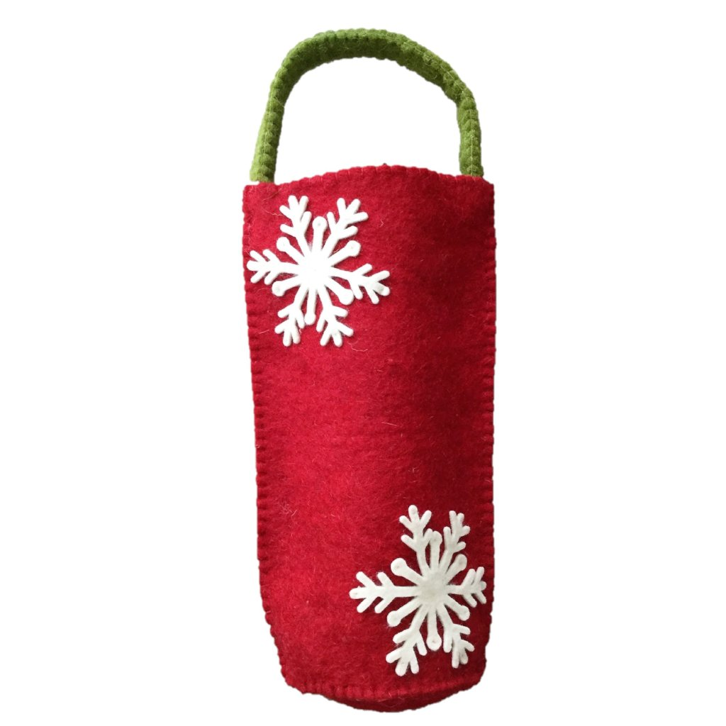 Felt Gift Bottle Bag in Red with Cream Snowflakes