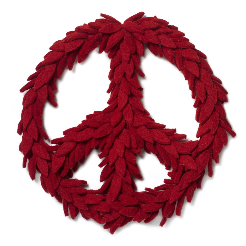 Handmade Hand Felted Wool Wreath - Peace Symbol in Red - 14