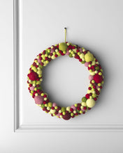 Handmade Hand Felted Wool Wreath - Multicolor Ball - 14""